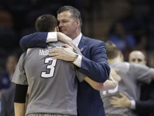 Coach Doug McDermott subbing out his son, Doug. It was the final chapter of Doug's esteemed collegiate career.